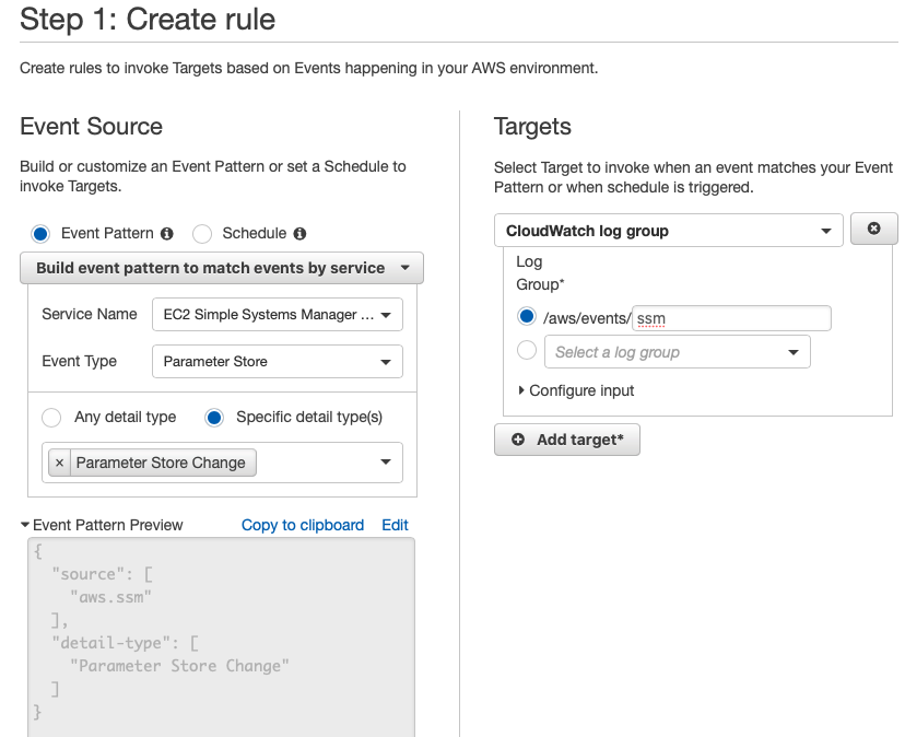 Creating a CloudWatch Event rule for Parameter Store